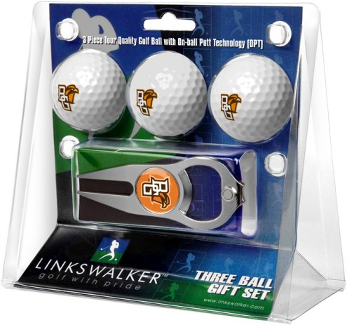 Bowling Green State Falcons Golf Ball Gift Pack with Hat Trick Divot Tool