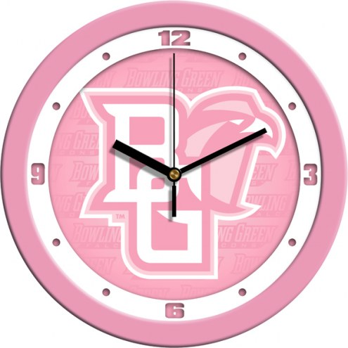 Bowling Green State Falcons Pink Wall Clock