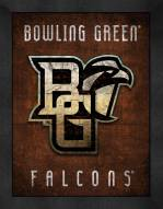 Bowling Green State Falcons Retro Logo Map Framed Print