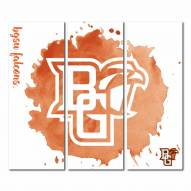 Bowling Green State Falcons Triptych Watercolor Canvas Wall Art