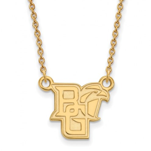 Bowling Green State Falcons Sterling Silver Gold Plated Small Pendant Necklace