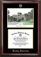 Bradley Braves Gold Embossed Diploma Frame with Campus Images Lithograph