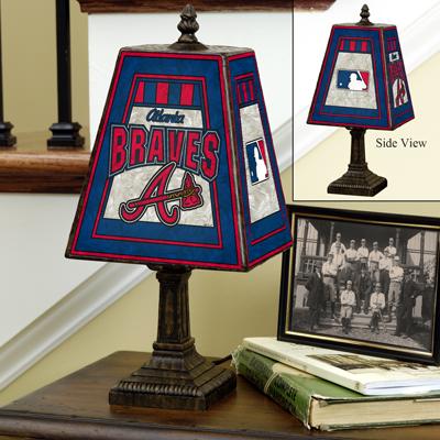 Atlanta Braves MLB Hand-Painted Art Glass Table Lamp
