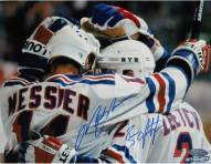 Brian Leetch/Mark Messier Dual Signed Team Huddle Signed 8 x 10 Photo