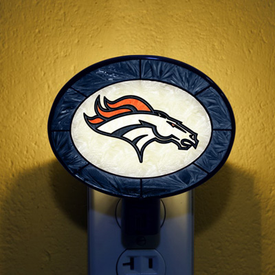 Denver Broncos NFL Stained Glass Night Light