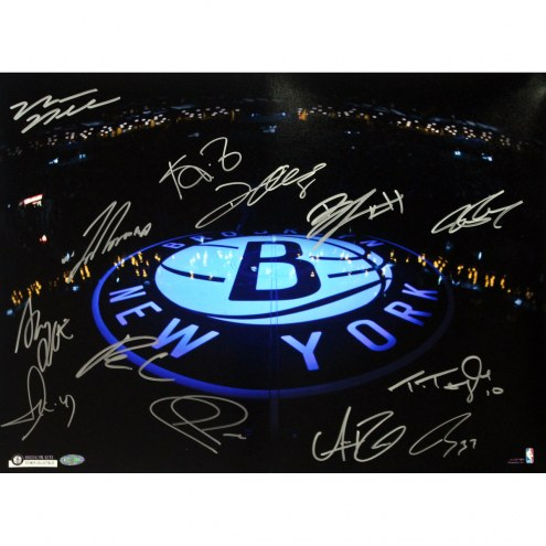 "Brooklyn Nets ""B"" Logo Lit Up on Dark Court Signed 16"" x 20"" Photo"