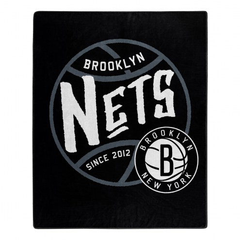 Brooklyn Nets Blacktop Raschel Throw Blanket