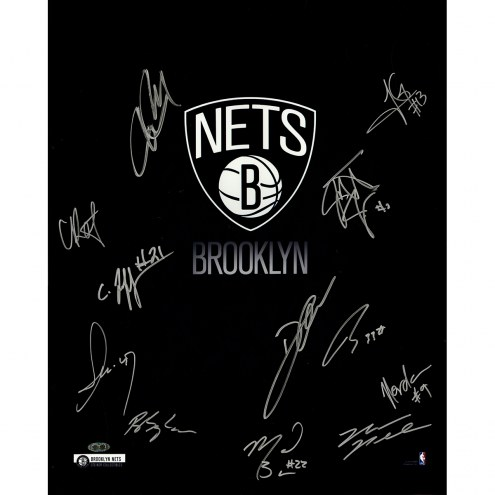 "Brooklyn Nets Logo with Herringbone 12 Signatures Signed 16"" x 20"" Photo"