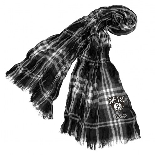 Brooklyn Nets Plaid Crinkle Scarf