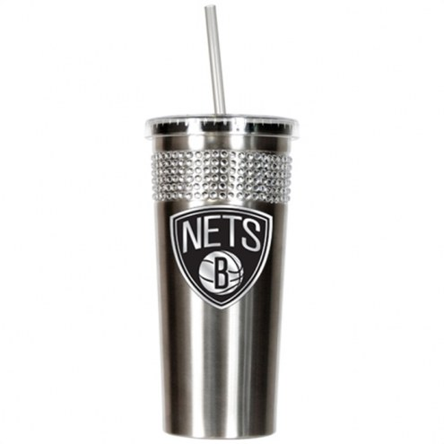 Brooklyn Nets Stainless Steel Bling Tumbler with Straw