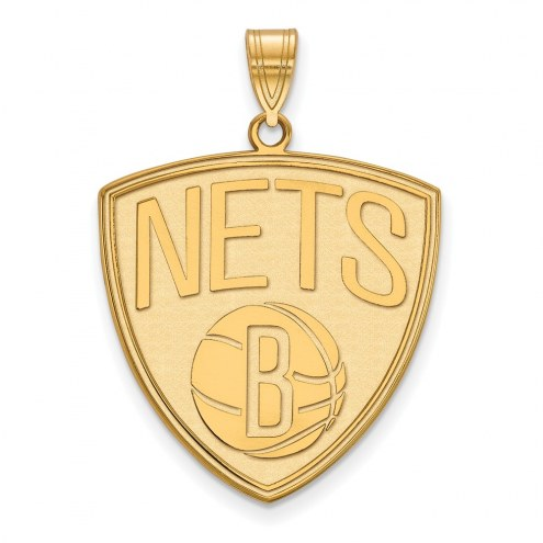 Brooklyn Nets Sterling Silver Gold Plated Extra Large Pendant