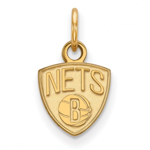Brooklyn Nets Sterling Silver Gold Plated Extra Small Pendant