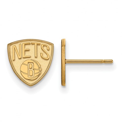 Brooklyn Nets Sterling Silver Gold Plated Extra Small Post Earrings