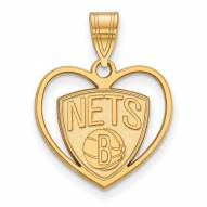 Brooklyn Nets Sterling Silver Gold Plated Heart Pendant