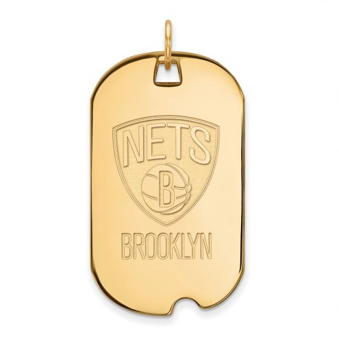 Brooklyn Nets Sterling Silver Gold Plated Large Dog Tag