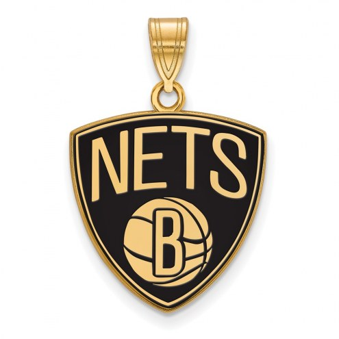 Brooklyn Nets Sterling Silver Gold Plated Large Enameled Pendant