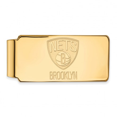 Brooklyn Nets Sterling Silver Gold Plated Money Clip