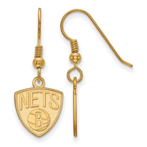 Brooklyn Nets Sterling Silver Gold Plated Small Dangle Earrings