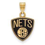 Brooklyn Nets Sterling Silver Gold Plated Small Enameled Pendant