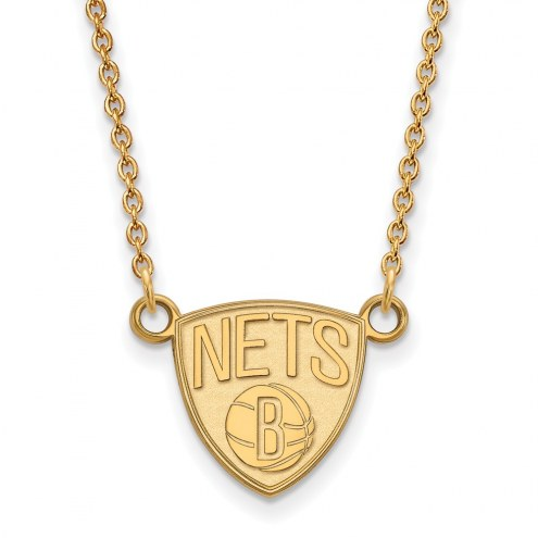 Brooklyn Nets Sterling Silver Gold Plated Small Pendant Necklace