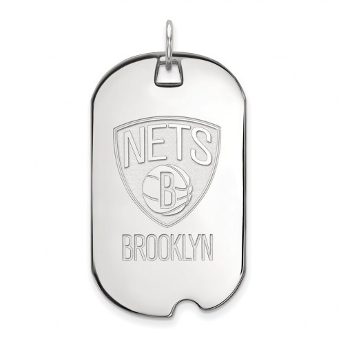 Brooklyn Nets Sterling Silver Large Dog Tag