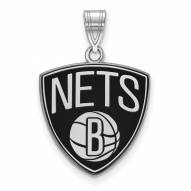 Brooklyn Nets Sterling Silver Large Enameled Pendant