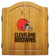 Cleveland Browns NFL Complete Dart Board Cabinet Set (w/darts & flights)