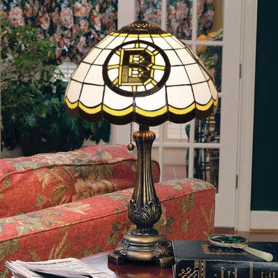 Boston Bruins NHL Stained Glass Table Lamp