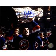 "Bryan Trottier Signed Islanders Cup over Head Horizontal 8 x 10 Photo w/ ""HOF 97"""