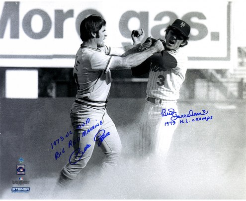 "Bud Harrelson Fighting With Pete Rose w/ ""1973 NL Champs"" Signed 16"" x 20"" Photo"
