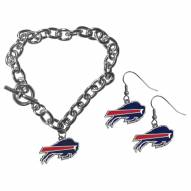 Buffalo Bills Chain Bracelet & Dangle Earring Set