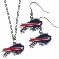 Buffalo Bills Dangle Earrings & Chain Necklace Set