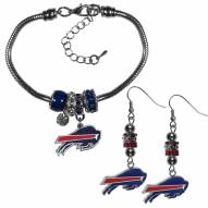 Buffalo Bills Euro Bead Earrings & Bracelet Set