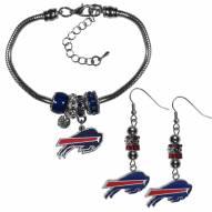 Buffalo Bills Euro Bead Earrings & Bracelet Set