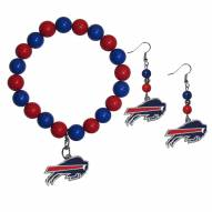 Buffalo Bills Fan Bead Earrings & Bracelet Set