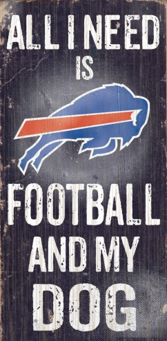 Buffalo Bills Football & Dog Wood Sign