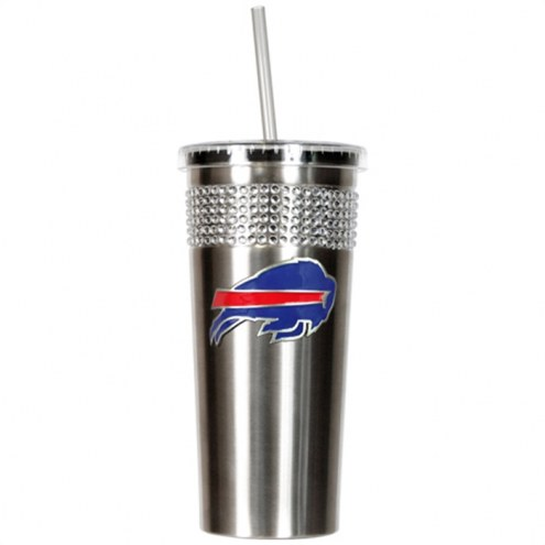 Buffalo Bills Stainless Steel Bling Tumbler with Straw