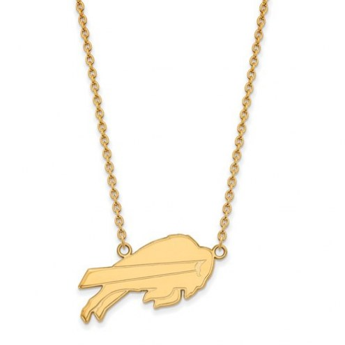 Buffalo Bills Sterling Silver Gold Plated Large Pendant with Necklace