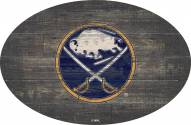 "Buffalo Sabres 46"" Distressed Wood Oval Sign"