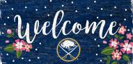 "Buffalo Sabres 6"" x 12"" Floral Welcome Sign"