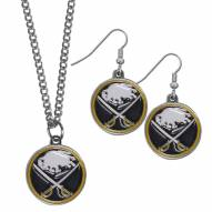 Buffalo Sabres Dangle Earrings & Chain Necklace Set
