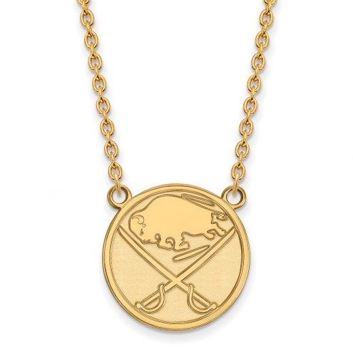 Buffalo Sabres Sterling Silver Gold Plated Large Pendant Necklace