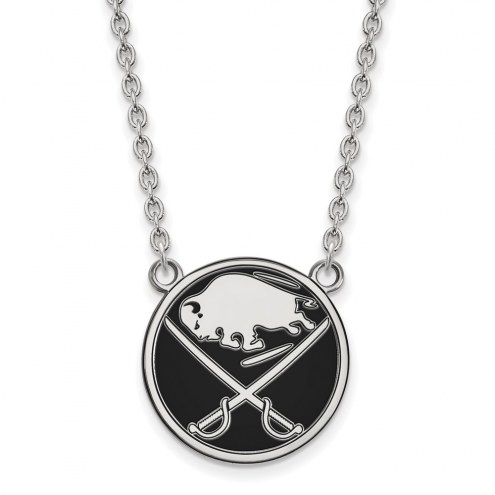 Buffalo Sabres Sterling Silver Large Enameled Pendant Necklace
