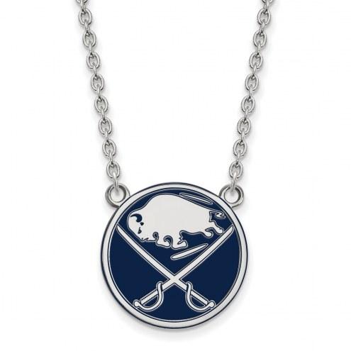 Buffalo Sabres Sterling Silver Large Enameled Pendant Necklace