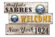 Buffalo Sabres  Welcome 3 Plank Sign
