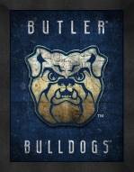 Butler Bulldogs Retro Logo Map Framed Print