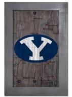 "BYU Cougars 11"" x 19"" City Map Framed Sign"