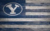 """BYU Cougars 11"""" x 19"""" Distressed Flag Sign"""