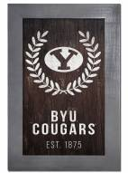 """BYU Cougars 11"""" x 19"""" Laurel Wreath Framed Sign"""
