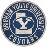 """BYU Cougars 12"""" Circle with State Sign"""